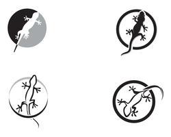 Schwarzes Vektorschwarzes des Eidechsen-Chamäleon-Gecko-Schattenbildes