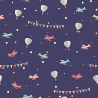 Airplane and air balloon seamless pattern