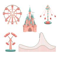 Set of cartoon amusement park rides icons