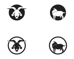 Goat black animals vector logo and symbol