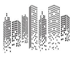 Skyline da cidade moderna. silhueta da cidade. ilustração vetorial no apartamento