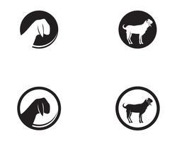 Vektorlogo und -symbol der schwarzen Tiere der Ziege