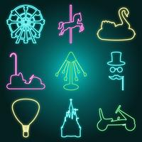 Neon style amusement park icon set