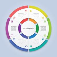 Circle Infographic Template with Six Options for Workflow Layout, Diagram, Annual Report, Web Design