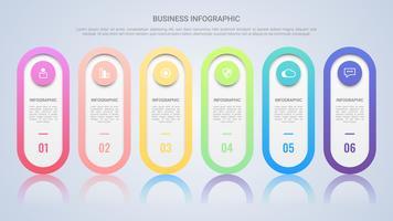 Minimalistische Infographic sjabloon voor het bedrijfsleven met zes stappen Multicolor Label