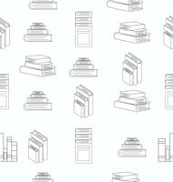 Stack of books white flat design seamless pattern