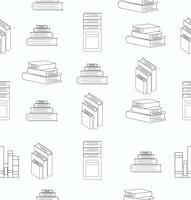 Stack of books white flat design seamless pattern