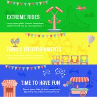 Amusement park funfair horizontal banner vector