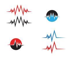plantilla de vector de línea de latido del corazón