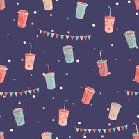 Pop corn and milk shake seamless pattern