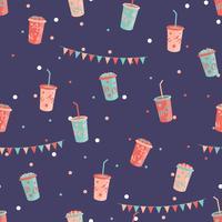 Pop corn and milk shake seamless pattern