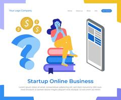 Startup online business landing page vector background.