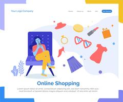 Online shopping landing page vector background.