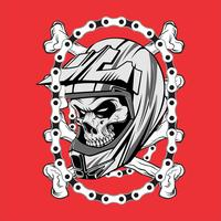 skull wearing helmet motocross with chain.vector hand drawing,Shirt designs, biker, disk jockey, gentleman, barber and many others.isolated and easy to edit. Vector Illustration - Vector
