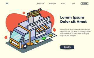 street food landing page template with truck vector illustration