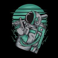 astronaut handling gun.vector hand drawing,Shirt designs, biker, disk jockey, gentleman, barber and many others.isolated and easy to edit. Vector Illustration - Vector