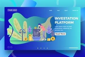 Investment platform landing page template vector