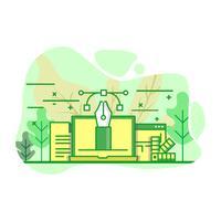 conception et vecteur d'illustration moderne couleur vert plat