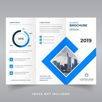 Vector tri-fold brochure, flyer for business and advertising with place for photos. Design for printing and advertising.