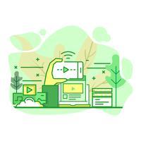 Plataforma de streaming moderno plano color verde ilustración