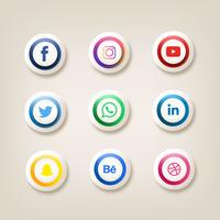 Bouton d'icônes de médias sociaux Vector Pack