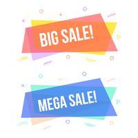 Set di banner di vendita geometriche, design piatto etichetta stile memphis alla moda