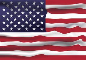 Diseño realista del vector de la bandera de los Estados Unidos de América