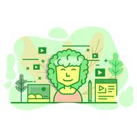 vlogger moderne platte groene kleur illustratie