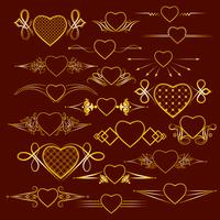 Set of dividers with the image of the heart. Vector