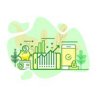moderne vlakke groene kleurenillustratie van de investering