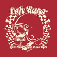 skull helmet cafe racer hand drawing vector