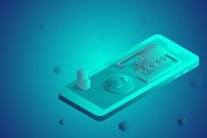 Isometrische futuristische Online-Banking. ATM-Maschine, Dollar und Bankgebäude auf Mobile.