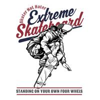 schedel extreme skateboard, .vector hand tekenen, shirt ontwerpen, biker, disk jockey, gentleman, kapper en vele anderen. geïsoleerd en gemakkelijk te bewerken. Vectorillustratie - Vector