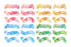 Hand Drawn Watercolor Ribbons