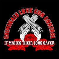 cross gun,criminals love gun control. .vector hand drawing,Shirt designs, biker, disk jockey, gentleman, barber and many others.isolated and easy to edit. Vector Illustration - Vector
