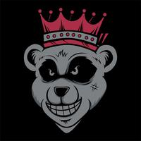 king bear wearing crownd head cat smoking .vector hand drawing,Shirt designs, biker, disk jockey, gentleman, barber and many others.isolated and easy to edit. Vector Illustration - Vector