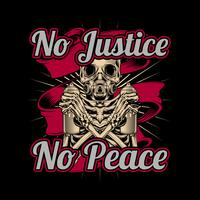 skull holding spray paint graffiti no justice no peace .vector hand drawing,Shirt designs, biker, disk jockey, gentleman, barber and many others.isolated and easy to edit. Vector Illustration - Vector