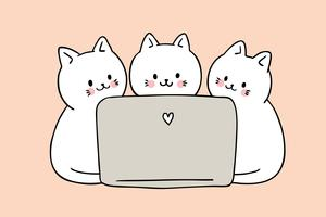 Cartoon cute cats playing computer vector.