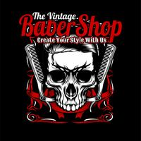 the vintage barber shop,skull and comb.vector hand drawing,Shirt designs, biker, disk jockey, gentleman, barber and many others.isolated and easy to edit. Vector Illustration - Vector