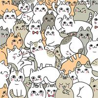 Cartoon cute doodle cats vector.