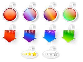Insignias de venta, calificación y descuento. vector
