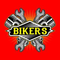 grunge style bikers logo piston and wrench hand drawing vector
