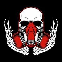 Graffiti skull with gas mask hand drawing,Shirt designs, biker, disk jockey, gentleman, barber and many others. isolated and easy to edit. Vector Illustration - Vector
