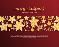 Merry Christmas and Happy new year greeting card in paper cut style background. Vector illustration Christmas celebration star,snowflake, decoration on red. banner, flyer, poster, wallpaper, template.