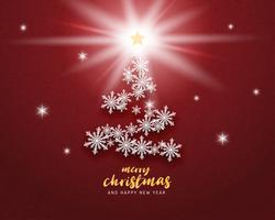 Merry Christmas and Happy new year greeting card in paper cut style background. Vector illustration Christmas celebration snowflakes on red background for banner, flyer, poster, wallpaper, template.