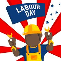 Labor Day Illustration med en Man Holdingnycklar