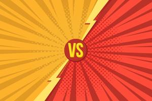 Versus VS letters fight backgrounds in pop art retro comics style with halftone. Vector illustration