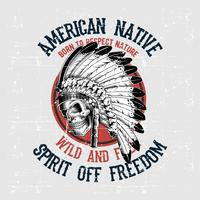 grunge style skull american native hand drawing vector