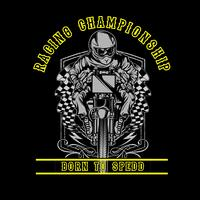 Skull motorcycle racing hand drawing vector hand drawing,Shirt designs, biker, disk jockey, gentleman, barber and many others. isolated and easy to edit. Vector Illustration - Vector