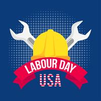 Illustration Of Labour Day With A Yellow Helmet And Two Wrenches
